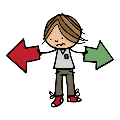 Illustration of boy with arrows